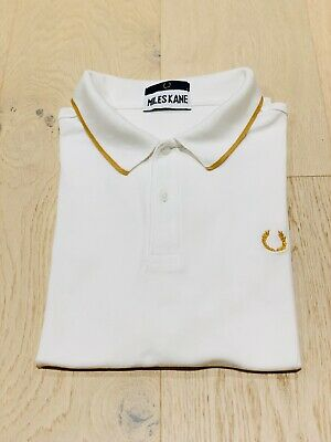 Fred Perry X Miles Kane Tipped Pique Polo In White Size L