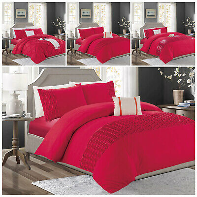 Red Pintuck Duvet Quilt Cover Bedding Set With Pillow Cases Single Double King