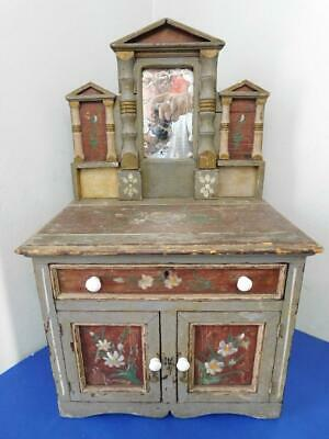 Beautiful Miniature Apprentice Piece Cabinet Dresser with Painted Tole Folk Art
