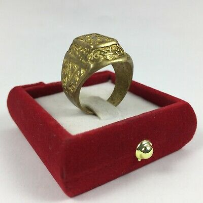 "Ancient ""Roman"" Ring Bronze Extremely Artifact Unique Gold Color Size10 Rare Old"