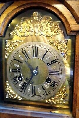 CLOCK antique mantle bracket chiming Edwardian ornate wooden cased