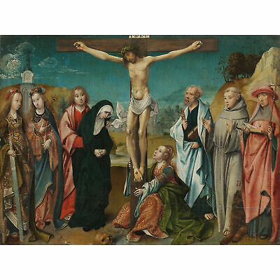 Engebrechtsz Christ On Cross With Saints Large Wall Art Print 18X24 In