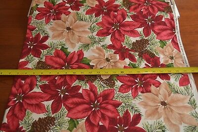 """Quilting Cotton Christmas Poinsettias B26 By 1//2 Yd 43/"""" Wide"""