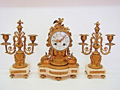 Quality Antique 1885 French A.d. Mougin 3 Piece Mantel Clock