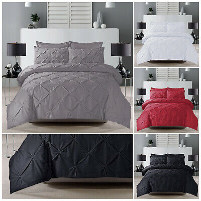 Pintuck Duvet Set Quilt Cover Bedding With Pillow Cases Single Double King Size