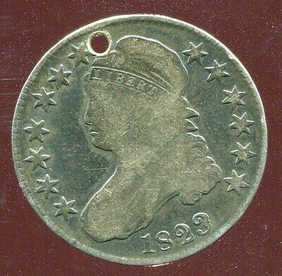 1823 CAPPED BUST HALF DOLLAR patched 3 HOLED