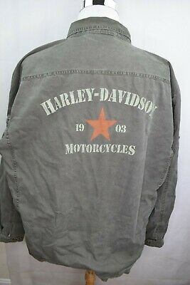 Harley Davidson Army Green Heavy Duty Jacket Size 2XL Big Logo Spell Out Patch