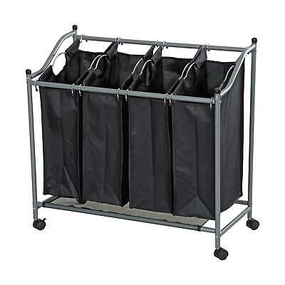 4 Bag Laundry Sorter Cart Hamper Rolling Organizer Clothes Bin Basket On Wheels