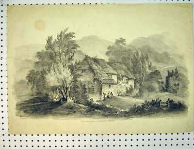 Original Old Antique Print C1810 Country House Mill Mountain Scene 19th Century