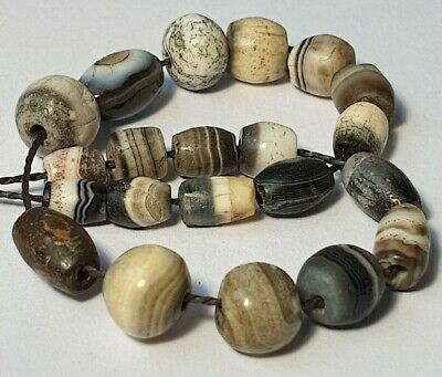 21 Ancient Rare Indo-Tibetan Banded King Solomon Agate Beads
