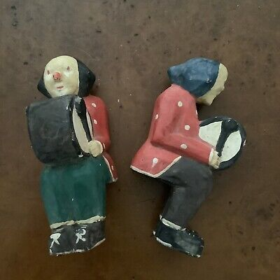Pair Vintage Antique Asian Figures Seated Couple Man Woman Carved Painted Wood