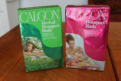 2 Nice Nos Calgon Herbal Bouquet Bath Silky Soft Water Boxes Unopened 15 Oz.
