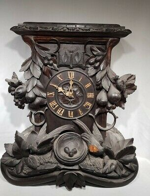Beautiful Unusual Beha Triple Fusee Wood Plate Black Forest  Cuckoo Clock C1869