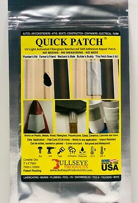 Quick Patch! UV Light Activated Fiberglass Reinforced Self Adhesive Repair Patch