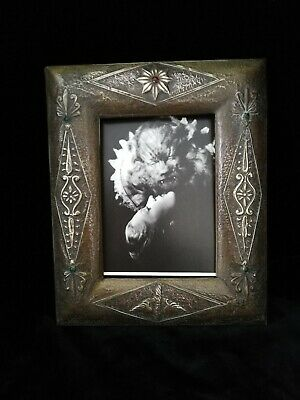 Decorative  Unusual Original Art Nouveau Arts And Crafts , Brass On Wood  Frame