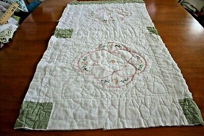 Vintage Cutter Quilt Piece Handmade Embroidered Hand Quilted Craft Project 22X42