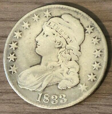 1833 Capped Bust Half Dollar ~ F Condition