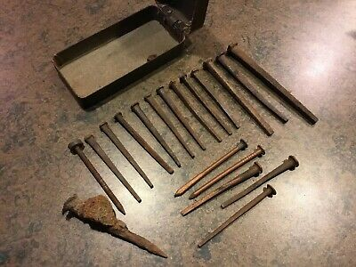 Antique Lot of Vintage Square Metal Carpentry Hammer Nails + 5 Copper