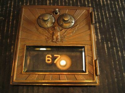 "Post Office Box Door 5.5"" by 6"" Bronze Eagle Working Double Combination Lock"