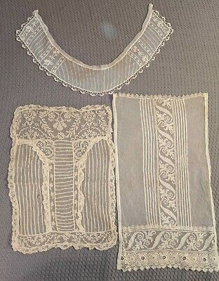 3 Pc. Antique Mixed Lace Dress Panel, Collar Lot - S21
