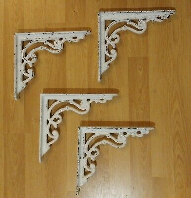"Set Of Four ""Antique"" White Shelf Brackets 8"" Cast Iron Heavy Wall Victorian"