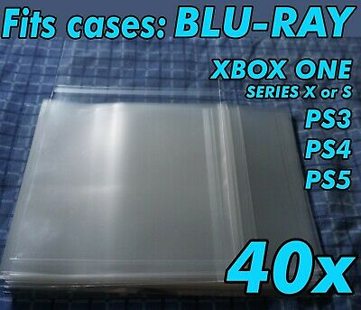 40x Blu-ray Case Resealable Protective Sleeves OPP Bluray Plastic Sleeve