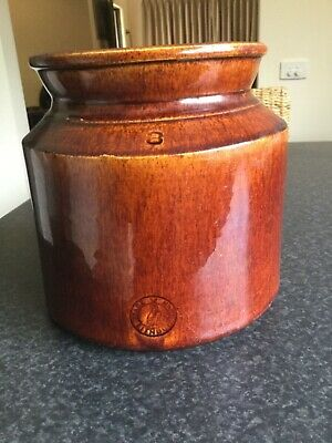 Rare Lithgow pottery bung jar in lovely brown glaze