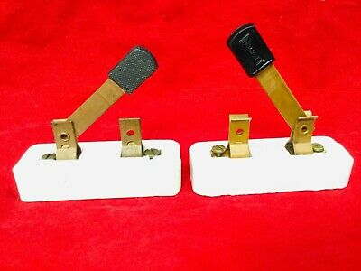 2 Old Electric Throw Switches Single Knife Blade Eagle Leviton, Copper Porcelain