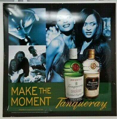 Vintage Tanqueray Sign Metal Black Yellow Green
