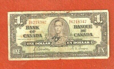 1937 King George VI One Dollar Bank Note Well Circulated G215