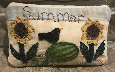 Primitive Made*Summer* Flowers & Watermelon Shelf Pillow-Made From Vintage Quilt