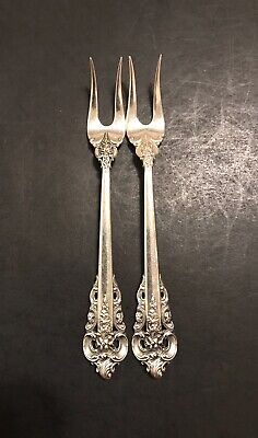 Wallace Grand Baroque Sterling Silver 2 Olive Forks 5 3/8 Inches