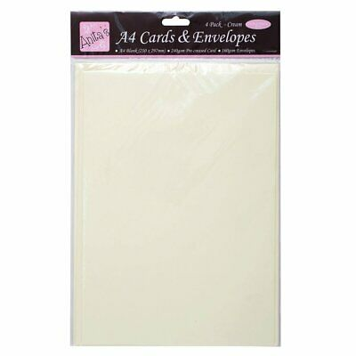 Docrafts A4 Cards/Envelopes, Cream (Pack of 4)