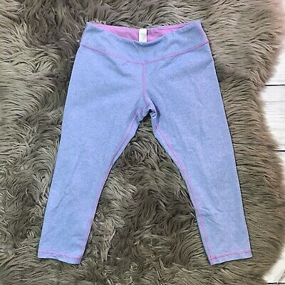 Ivivva By Lululemon Girls Blue Purple Cropped Capri Leggings Pants Size 14