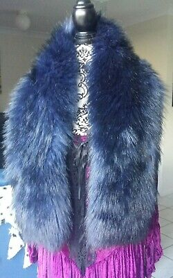 GOTHIC FAUX FOX FUR boa stole wrap scarf shawl 4 coat Karen Millen Blue Black