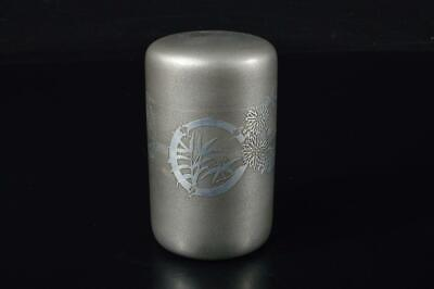 E2525: Japanese Tin Shikunshi sculpture TEA CADDY Chaire Container, Tea Ceremony