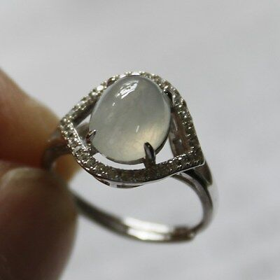 Size 4 1/2 CERTIFIED Natural Grade A Icy White Jadeite Jade Ring 925 Silver