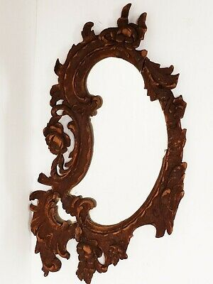 "Vintage / Antique Carved Wood Italian Baroque Style Mirror Fragment 8.5"" x 4.5"""