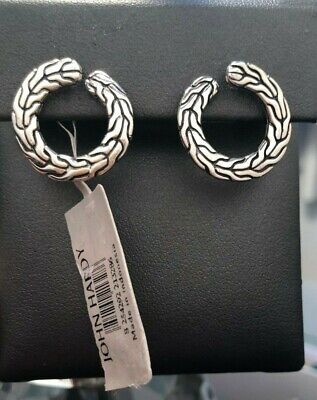 John Hardy Classic Chain Hoop Sterling Silver Round Carved Earrings