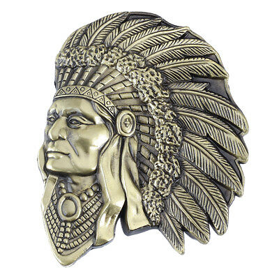 Indian Warrior Chief Belt Buckle Western Cowboy Native American IW-05-S