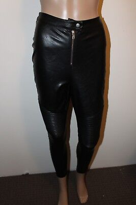 MISSGUIDED Brand Size 6 Faux Leather High Waisted Ribbed Stylish Women's Pants
