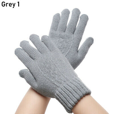 Warm Elastic Soft Knitted Gloves Touch Screen Mittens Full Finger Thicken Warm