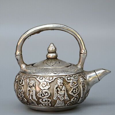 Collectable China Old Miao Silver Hand-Carved Eight Immortal Auspicious Tea Pot