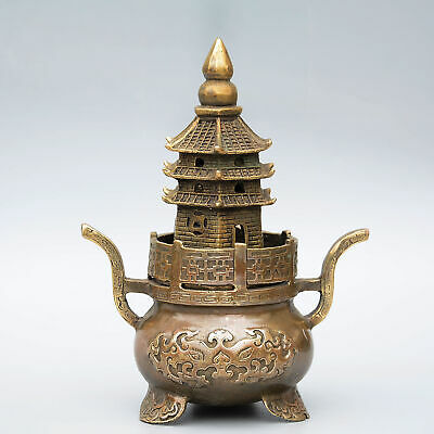 Collectable China Antique Bronze Hand-Carved Delicate Noble Tower Shape Censer