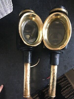 Antique pair of Carriage Light Lamp Coach Candle Lantern Collectable brass.