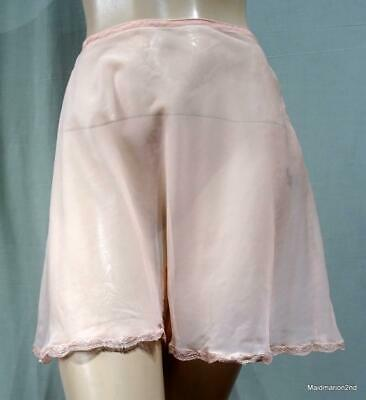 VINTAGE SHEER SEE-THROUGH PEACH NYLON FRENCH KNICKERS PANTIES BUTTON SIDE Med