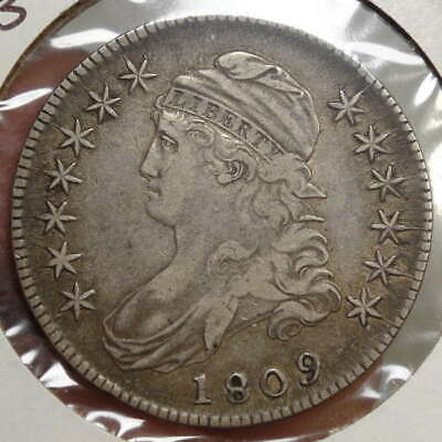 1809 Bust Half Dollar, Normal Edge, Choice Very Fine, Problem Free   0214-21