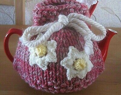 Hand Knitted Daffodil Heads Pinks Tea Cosy. Fits A One Pint Teapot. Mum?