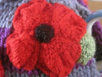 Hand Knitted Poppy Heads Tea Cosy. Fits A Two Pint Teapot. Mum?