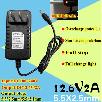 AC-DC 100~240V To 12.6V Double IC Intelligent Lithium Li-ion Battery Charger 2A